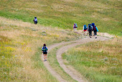 Hikers. Family hikes in Crimea mountains Royalty Free Stock Photos