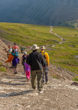 Hikers along the Trail Glacier National Park Royalty Free Stock Photos