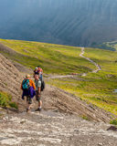Hikers along the Trail Glacier National Park Royalty Free Stock Photography