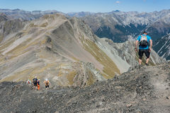 Hikers in Arthur's Pass National Park Stock Images