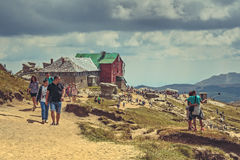 Hikers at Babele chalet, Romania Stock Photography