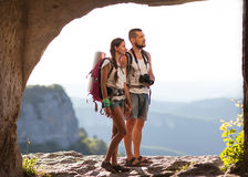 Hikers with backpacks Royalty Free Stock Photos