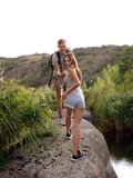 Traveling toghether mountains and coast, freedom and active lifestyle concept. Stock Images