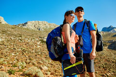 Hikers with backpacks and solar battery Stock Photo