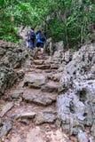 Hikers Blured идя к верхней части горы Стоковая Фотография