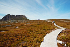 Hikers on the boardwalk. Cradle Mountain National Park, Tasmania Stock Photography