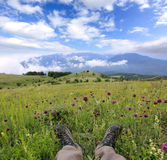 Hikers boot on meadow in mountains Royalty Free Stock Images