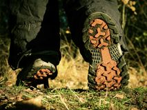 Walk in trekking shoes on the background of leaves and trees. Hikers boots on forest trail. Autumn hiking. Close-up of walking in trekking shoes on the stock photos