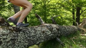 Hikers boots jumping over fallen tree stock video footage