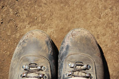 Hikers Boots. Well trodden hiking boots on Mount Kilimanjaro Royalty Free Stock Photography