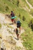 Hikers in Bucegi Mountains Stock Photos