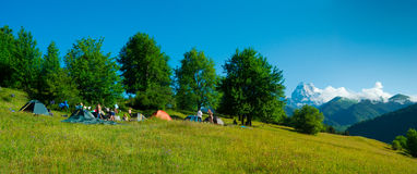 Hikers camp near Ushguli, Georgia. Royalty Free Stock Photography