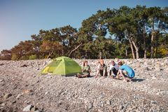Hikers camping on the beach in Cirali Stock Image