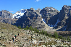 Hikers in the Canadian Rockies Stock Image