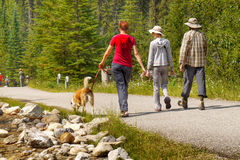 Hikers in Canadian Rockies, Canada Stock Images