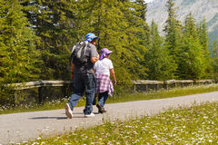 Hikers in Canadian Rockies, Canada Stock Photography