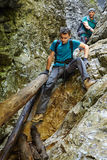 Hikers in a canyon Royalty Free Stock Photo