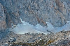 Hikers climbing Conness Glacier in Eastern Sierra Royalty Free Stock Photography