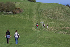 Hikers in the countryside. People walking in the countryside Royalty Free Stock Photography