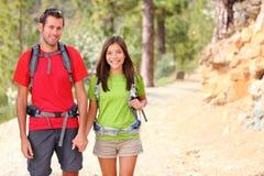 Hikers couple portrait stock image