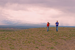 Hikers couple steppe Stock Images
