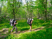 Hikers couple trekking Stock Photo