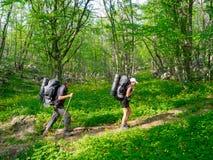 Hikers couple trekking Stock Photo
