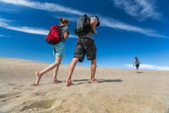 Hikers in the Death valley royalty free stock photo