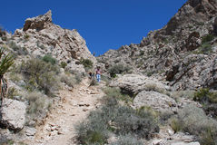 Hikers descending Turtlehead Peak in Red Rock Canyon, NV Royalty Free Stock Photo