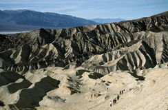 Hikers in the desert. Hikers in Golden Canyon, Death Valley National Park, California Stock Image