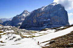 Hikers Dolomite Mountains Royalty Free Stock Photography