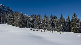 Hikers in the Dolomites Stock Photo
