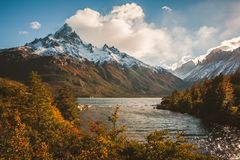 Hikers Dream in Patagonia, Chile. Mountains, lakes and trees make up some beautiful scenery when hiking in Torres del Paine in Patagonia, Chile stock photo