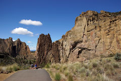 Hikers drop into the canyon of the Crooked River Royalty Free Stock Images