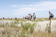 Hikers in the dunes. Netherlands Stock Image