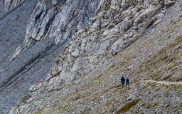 Hikers on the Eiger Trail Royalty Free Stock Photos