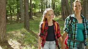 Hikers enjoy walking in forest downhill among trees. Hikers enjoy walking in forest - woman and girl walking downhill among trees stock video