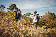 Hikers enjoying on summer vacation in countryside Royalty Free Stock Photo