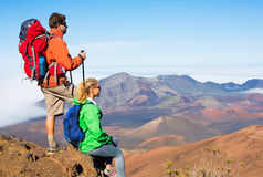 Hikers enjoying the view from the mountain top Royalty Free Stock Photography