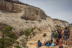 Hikers enjoying the view on top of Angels Landing Royalty Free Stock Image