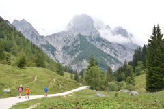 Hikers in front of Ramsauer Dolomiten Royalty Free Stock Images