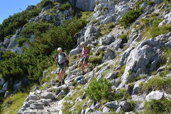 Hikers in german alps Stock Photo