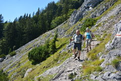 Hikers in german alps Royalty Free Stock Photo