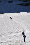 Hikers on the glacier in summer. Stock Photography
