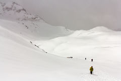 Hikers go on the snow in the mountains. Russia. Elbrus region. Hikers on a snow stock image