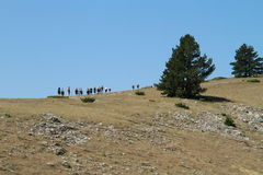 Hikers going upwards in Koritnik, Kosovo Stock Photography