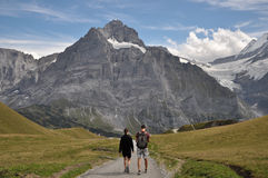 Hikers at Grindelwald/First Royalty Free Stock Image