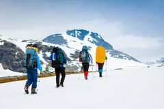 Hikers group in hike Stock Photography