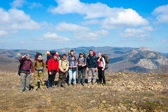 Hikers group on a peak Royalty Free Stock Photography
