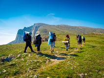 Hikers group trekking in Crimea Stock Images